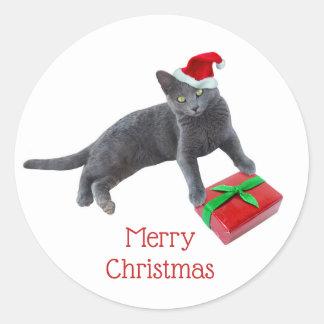 Pegatina Redonda Pegatinas grises del gato de Santa