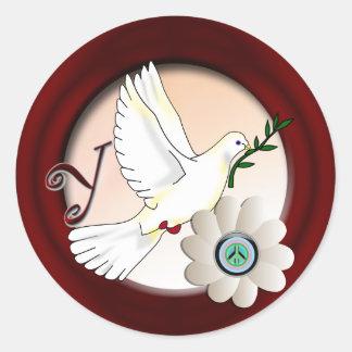 Pegatina Redonda Pegatinas iniciales de la paz