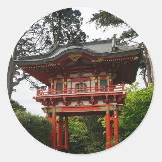 Pegatina Redonda Pegatinas japoneses de la puerta #2 del templo del