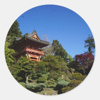 Pegatina Redonda Pegatinas japoneses de la puerta del templo del