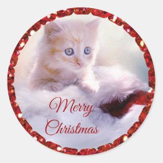 Pegatina Redonda Pegatinas lindos del gatito de las Felices Navidad