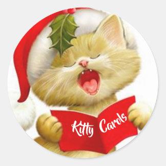 Pegatina Redonda Pegatinas lindos del gatito que cantan villancicos