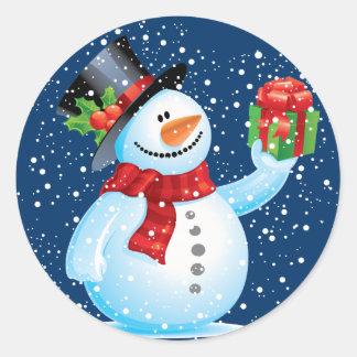 Pegatina Redonda Pegatinas lindos del navidad del muñeco de nieve