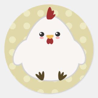Pegatina Redonda Pegatinas lindos del pollo