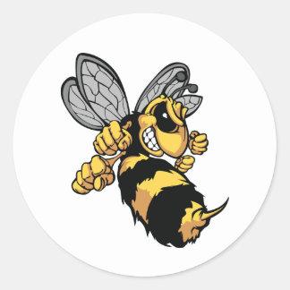 Pegatina Redonda Pegatinas muy enojados de la abeja