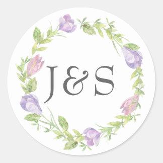 Pegatina Redonda Pegatinas personalizados boda frondoso floral