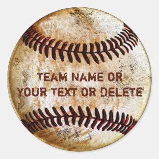 Pegatina Redonda Pegatinas personalizados del béisbol con SU TEXTO