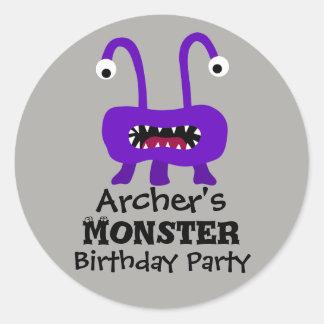 Pegatina Redonda Pegatinas púrpuras de la fiesta de cumpleaños del