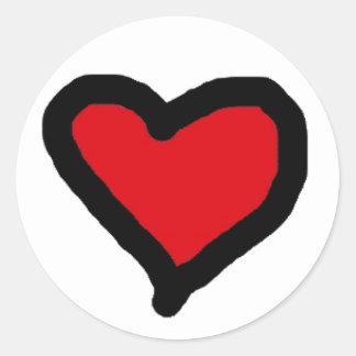 Pegatina Redonda Pegatinas rojos del corazón