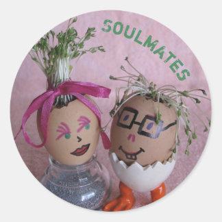 Pegatina Redonda Pegatinas románticos de los pares de Pascua Eggmen