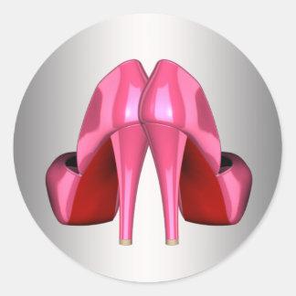 Pegatina Redonda Pegatinas rosados bonitos del zapato del tacón