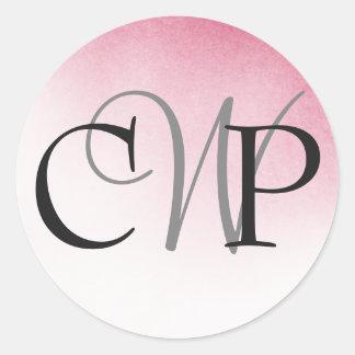 Pegatina Redonda Pegatinas rosados del monograma del boda de Ombre