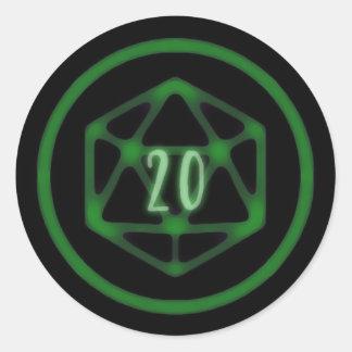 Pegatina Redonda Pegatinas verdes de D20 Crit