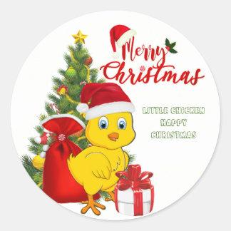 Pegatina Redonda Pequeño navidad del pollo del bebé