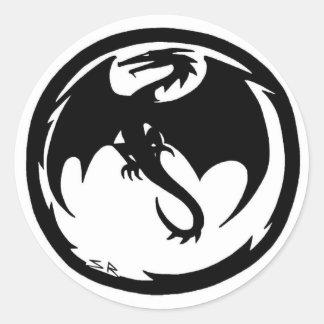 Pegatina Redonda Pequeños pegatinas redondos del dragón negro