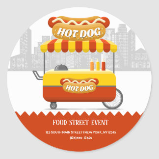 Pegatina Redonda Perrito caliente de la calle de la comida