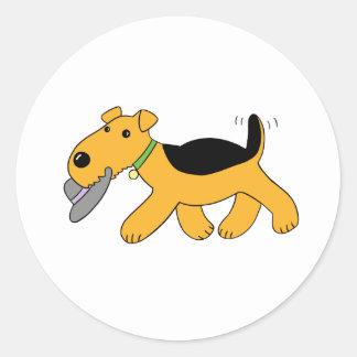 Pegatina Redonda Perro de Airedale Terrier del dibujo animado con