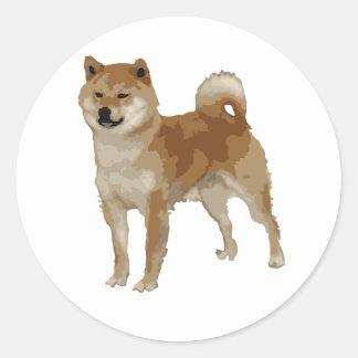 Pegatina Redonda Perro de Shiba Inu