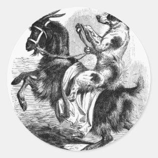 Pegatina Redonda Perro que monta una cabra