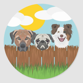 Pegatina Redonda Perros afortunados del ilustracion en una cerca de