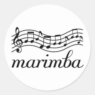 Pegatina Redonda Personal negro de la música del Marimba
