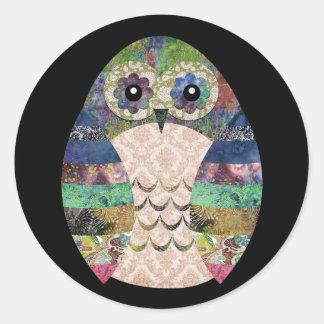 Pegatina Redonda Personalizado bohemio del pájaro de Boho del búho