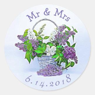 Pegatina Redonda Personalizado casando lilas de la púrpura de los