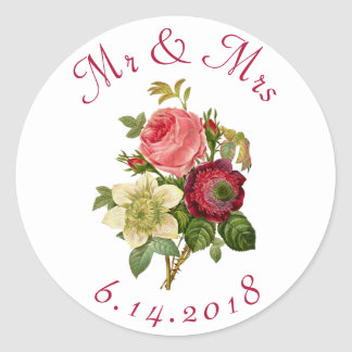 Pegatina Redonda Personalizado casando rosas rojos de los pegatinas