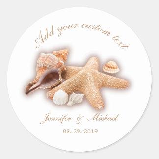 Pegatina Redonda Personalizado del boda del destino de la playa de