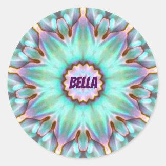 Pegatina Redonda ~ personalizado ~ del fractal de BELLA Paua Shell