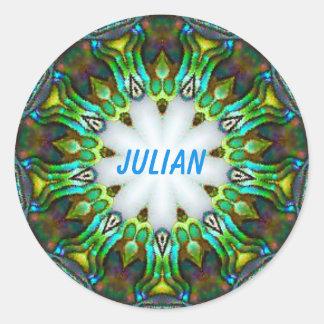 Pegatina Redonda ~ personalizado ~ JULIANO del fractal de Paua