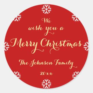 Pegatina Redonda Personalizado le deseamos Felices Navidad los