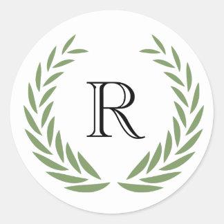 Pegatina Redonda Personalizar de la guirnalda del monograma con su