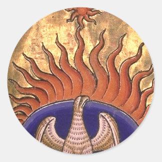 Pegatina Redonda Phoenix que sube de las cenizas