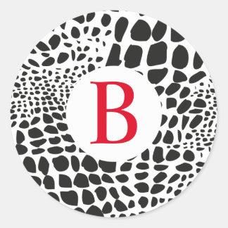 Pegatina Redonda Piel animal en blanco y negro