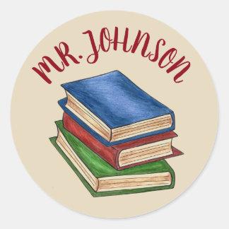 Pegatina Redonda Pila de libro de la biblioteca del profesor de