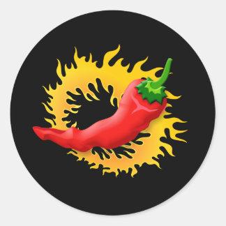 Pegatina Redonda Pimienta con la llama