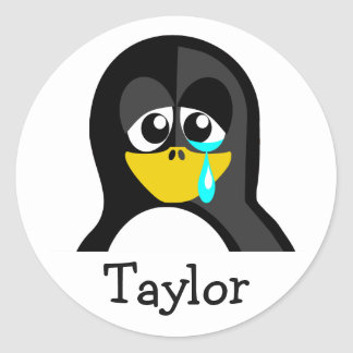Pegatina Redonda Pingüino gritador del dibujo animado divertido