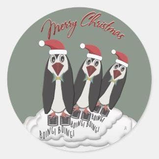 Pegatina Redonda Pingüinos de salto de Pogo del navidad de Jiminy
