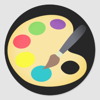 Pegatina Redonda Pintura colorida