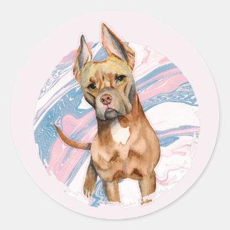 """Pegatina Redonda """"Pintura de la acuarela del perro del pitbull de"""