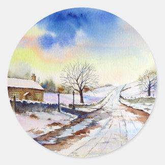Pegatina Redonda Pintura de paisaje hivernal de la acuarela del
