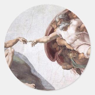 Pegatina Redonda Pintura original de Miguel Ángel en la capilla