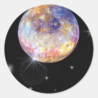 Pegatina Redonda Planeta Mercury Infared