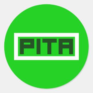 Pegatina Redonda Planeta verde del Pita en la caja (grande)