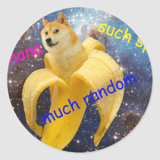 Pegatina Redonda plátano   - dux - shibe - espacio - guau dux