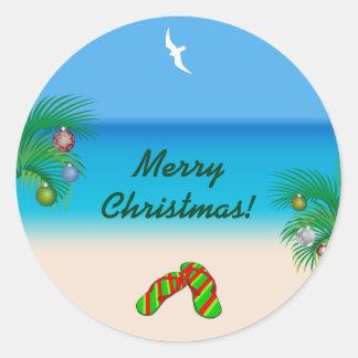 Pegatina Redonda Playa, palmeras y navidad tropicales de los