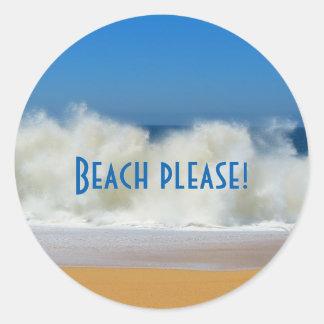 Pegatina Redonda ¡Playa por favor! Pegatinas de la escena de la