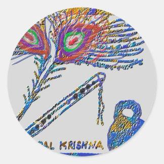 Pegatina Redonda Pluma y flauta - liebre Krishna del pavo real