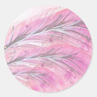 Pegatina Redonda plumas, color de rosa ligero, elegante,